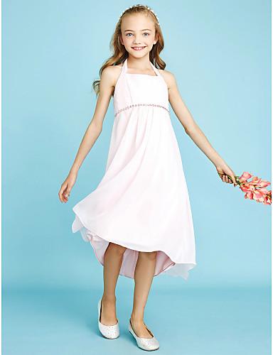 מעטפת \ עמוד קולר א-סימטרי שיפון שמלה לשושבינות הצעירות  עם חרוזים פפיון(ים) על ידי LAN TING BRIDE®