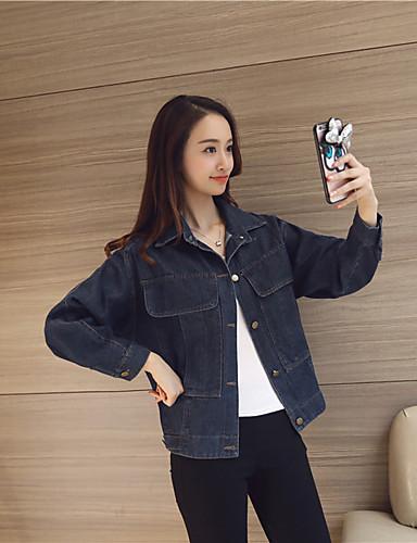 Damen - Solide Einfach / Freizeit Jacke, Ständer Baumwolle / Frühling