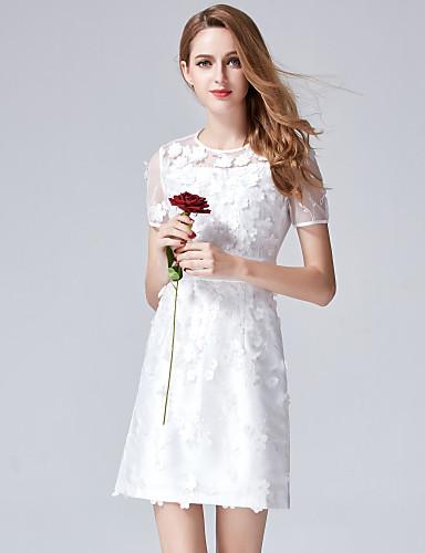 Mulheres Sofisticado Evasê Tubinho Bainha Vestido - Flor Com Transparência Fashion Bordado, Sólido Flor Bordado Acima do Joelho