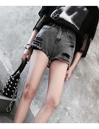 Dámské Jednoduchý Mikro elastické Kraťasy Džíny Kalhoty Štíhlý Mid Rise Jednobarevné