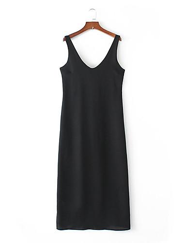 Damen Lose Etuikleid Kleid-Ausgehen Lässig/Alltäglich Einfach Street Schick Solide Gurt Midi Ärmellos Seide Baumwolle Sommer Herbst