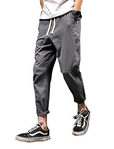 Miehet Yksinkertainen Joustamaton Haaremi Ohut Chinos housut Housut,Keski vyötärö Villasekoite Yhtenäinen Kevät Kesä