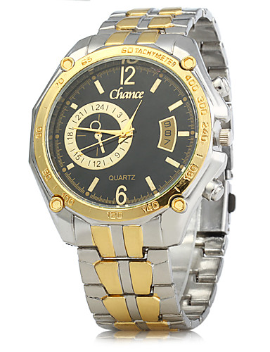 Men's Dress Watch Chinese Calendar / date / day Alloy Band Vintage Gold