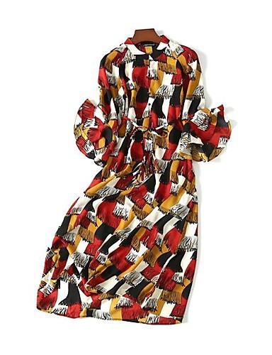 Dámské Jednoduchý Šik ven A Line Volné Shift Šaty Tisk,Dlouhý rukáv Kulatý Maxi Hedvábí Bavlna Léto Podzim Mid Rise Lehce elastické