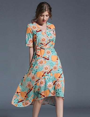 Mulheres Evasê Vestido - Estilo vintage Retro Estampado, Retalhos Decote V