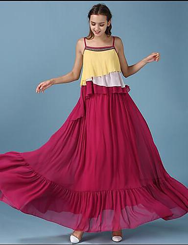 Damen Swing Kleid-Strand Einfach Solide Rundhalsausschnitt Midi Langarm Andere Sommer Mittlere Hüfthöhe Mikro-elastisch Mittel