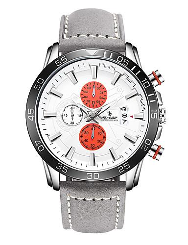 Homens Quartzo Relógio Esportivo Japanês Calendário Couro Legitimo Banda Fashion Marrom Cinza