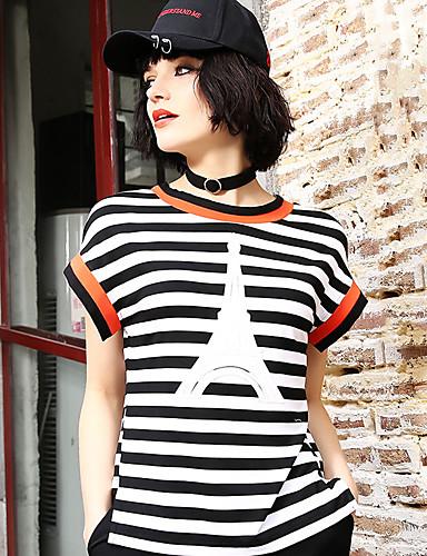 Naiset Lyhythihainen Pyöreä kaula-aukko Puuvilla Yksinkertainen Päivittäin Kausaliteetti T-paita,Raidoitettu