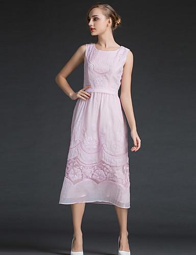 Dámské Na běžné nošení Sofistikované Denní A Line Pouzdro Šaty Jednobarevné Výšivka Módní,Bez rukávů Kulatý Midi Polyester Léto Mid Rise