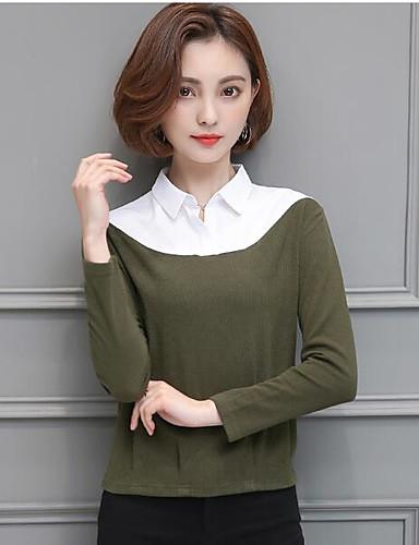 Damen Solide Sexy Lässig/Alltäglich T-shirt,Ständer Langarm Andere
