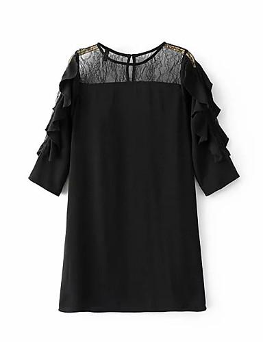 Damen Lose Etuikleid Kleid Einfach Street Schick Solide Rundhalsausschnitt Übers Knie Seide Baumwolle Sommer Herbst Mittlere Hüfthöhe