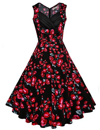 Dámské Větší velikosti Plážové / Dovolená Vintage Bavlna Swing Šaty - Květinový Délka ke kolenům Do V High Rise