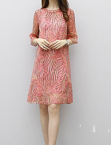 Mulheres Diário Fofo Sensual Moda de Rua Bainha Acima do Joelho Vestido, Estampado Decote Redondo Primavera Verão