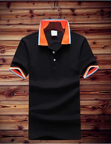 Pánské - Jednobarevné Polo Bavlna Košilový límec