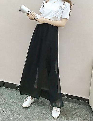 Dámské Jednoduchý Mikro elastické Volné Kalhoty Volný Mid Rise Jednobarevné