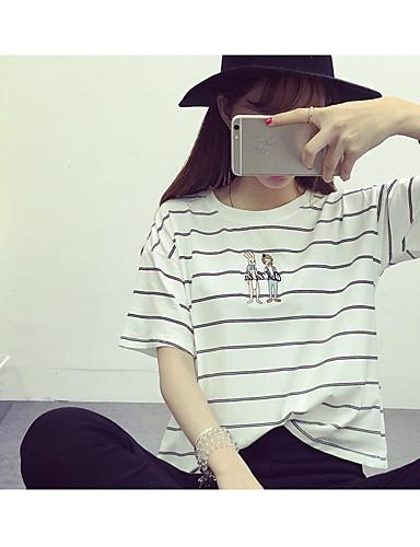 Damen Solide Geometrisch Einfach Urlaub Lässig/Alltäglich T-shirt,Rundhalsausschnitt Kurzarm Baumwolle
