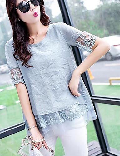 Damen Solide Einfach Lässig/Alltäglich T-shirt,Rundhalsausschnitt Sommer Kurzarm Baumwolle Polyester Dünn