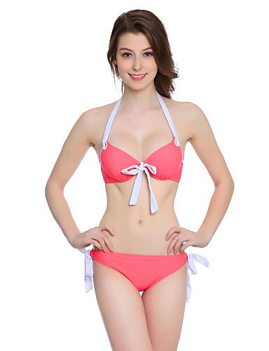Damen Einfarbig Halter Bikinis Bademode Muster Rote