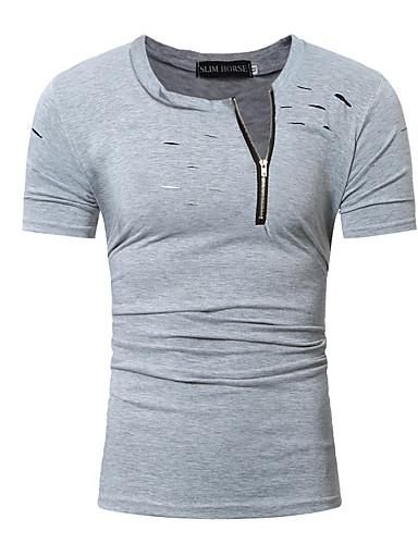 4e8eb0b412fc Ανδρικά Μεγάλα Μεγέθη T-shirt Βαμβάκι Μονόχρωμο Στρογγυλή Λαιμόκοψη Λεπτό  Τρύπα Ρουμπίνι XL   Κοντομάνικο   Καλοκαίρι
