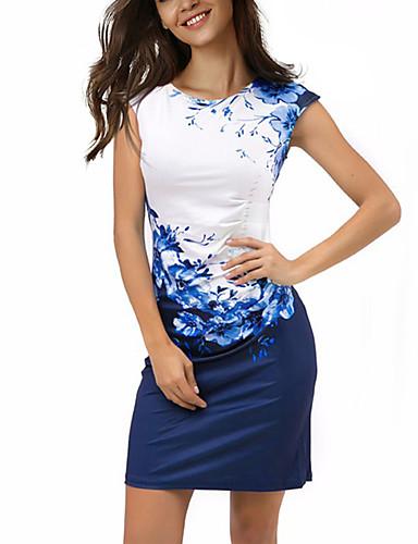 Femme Grandes Tailles Bohème Au dessus du genou Gaine Robe - Imprimé, Fleur Bloc de Couleur Eté Marine Bleu XL XXL XXXL Manches Courtes / Mince