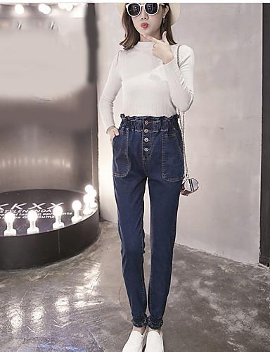 Damen Freizeit Mittlere Hüfthöhe Mikro-elastisch Eng Haremshosen Jeans Hose, Baumwolle Herbst Solide