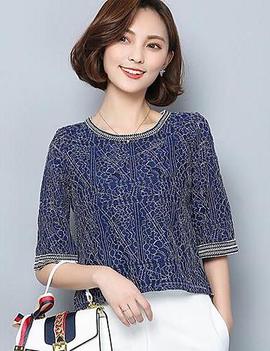 Damen Solide Einfach Lässig/Alltäglich T-shirt,Rundhalsausschnitt Sommer Kurzarm Baumwolle Dünn