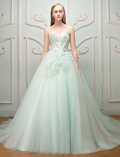 Princesa Decote Princesa Cauda Escova Renda Tule Ensaio de Casamento Evento Formal Vestido com Miçangas Renda Faixa Flor de QZ