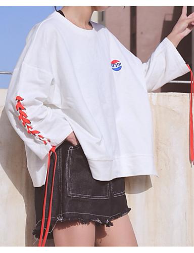 Damen Solide Buchstabe Einfach Lässig/Alltäglich T-shirt,Rundhalsausschnitt Langarm Baumwolle