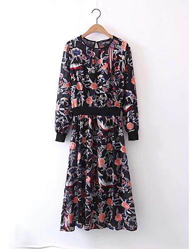 Damen Lose Etuikleid Kleid-Ausgehen Lässig/Alltäglich Einfach Street Schick Blumen Stickerei Rundhalsausschnitt Midi Langarm Seide