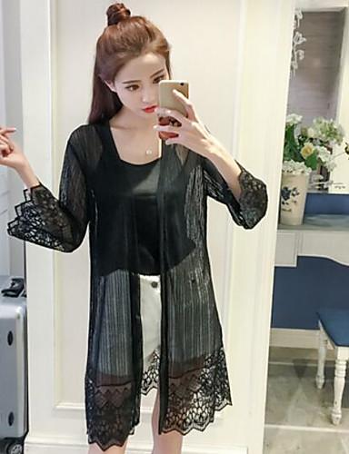 Damen Solide - Freizeit Baumwolle Bluse, Hemdkragen / Frühling / Sommer