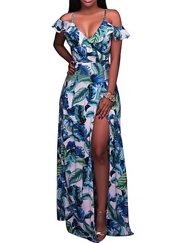 Mulheres Festa / Feriado / Bandagem Boho Bainha Vestido - Frente Única / Fenda, Árvores / Folhas / Estampa Colorida Com Alças Cintura Alta