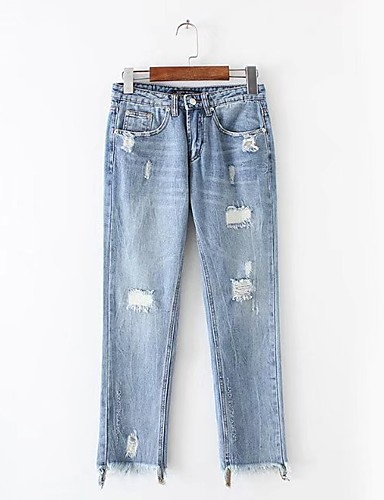 Women's Mid Rise Micro-elastic Skinny Jeans Pants,Street chic Loose Straight Ripped Tassel Letter