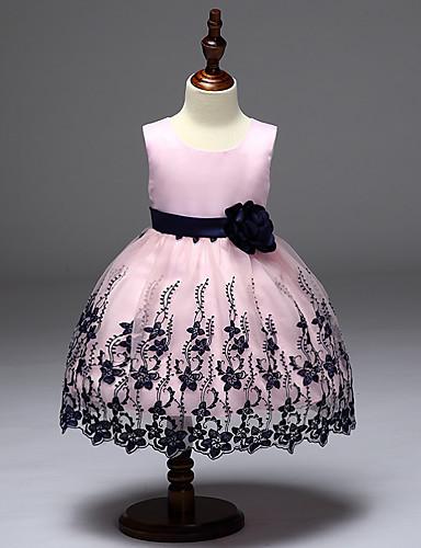 Prinsesse Svøpeslep Blomsterpikekjole - polyster Ermeløs Besmykket med Appliqué / Sateng Sløyfe / Blomster av LAN TING Express / Elegant
