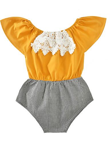 Baby Girls' Check Plaid / Check Sleeveless Cotton Bodysuit