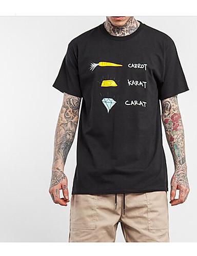 Bomull Medium Kortermet,Rund hals T-skjorte Ensfarget Vår Sommer Sexy Enkel Aktiv Sport Ut på byen Fritid/hverdag Herre