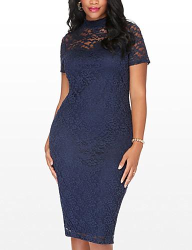 cheap Romantic Lace Dresses-Women's Lace Plus Size Going out Street chic Slim Bodycon Dress - Patchwork Lace Cut Out Crew Neck Spring Navy Blue XXXXL XXXXXL XXXXXXL