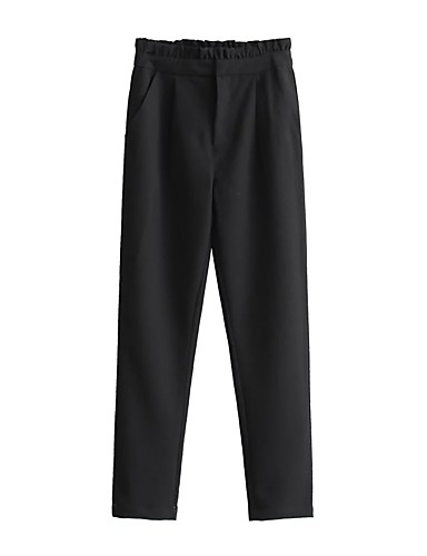 Women's Mid Rise strenchy Skinny Pants,Street chic Relaxed Pure Color Solid