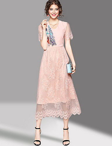 Women's Going out Cute Sheath Dress,Embroidered Round Neck Maxi Short Sleeves Polyester Summer Mid Rise Micro-elastic Medium