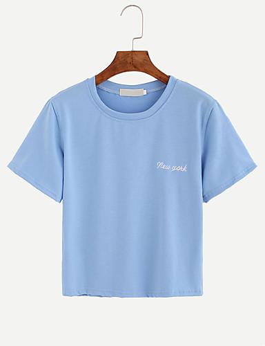 Bomull Medium Kortermet,Rund hals T-skjorte Ensfarget Alle sesonger Sommer Sexy Enkel Søt Fritid/hverdag Ut på byen Dame