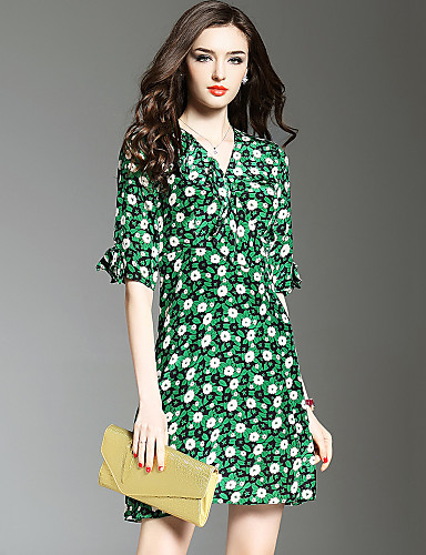 Women's Beach / Going out / Holiday Boho Petal Sleeves A Line / Sheath Dress - Print Ruched High Rise V Neck