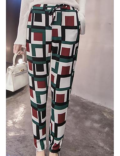 Women's Casual Slim Chinos Pants - Color Block