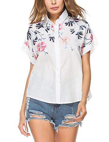 Mulheres Camisa Social Moda de Rua Bordado, Bordado Colarinho de Camisa