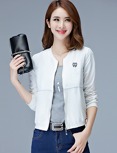 Women's Casual Jackets Casual Spring/Fall Summer Jacket,Solid Stand Long Sleeve Regular Polyester