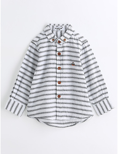 Boys' Animal Print Stripes Shirt,Cotton Spring Fall Long Sleeve White