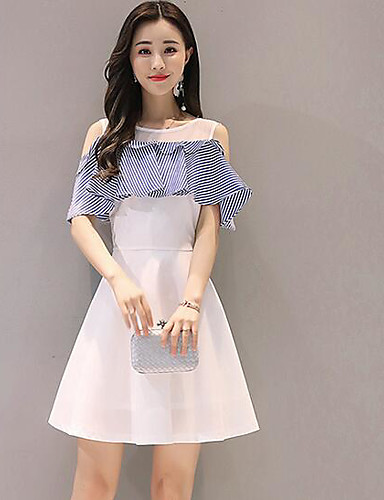 Women's Casual/Daily A Line Dress,Solid Round Neck Above Knee Short Sleeves Polyester Summer Mid Rise Inelastic Medium