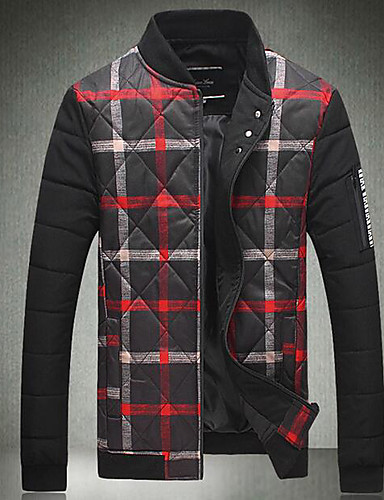 Men's Regular Padded Coat,Simple Casual/Daily Print-Others Cotton Long Sleeves