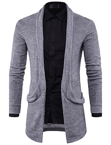 Men's Long Sleeves Cardigan - Solid Colored V Neck
