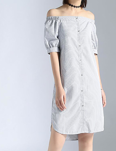 Women's Casual/Daily A Line Dress,Solid Boat Neck Knee-length Short Sleeves Cotton Polyester Summer Mid Rise Micro-elastic Medium
