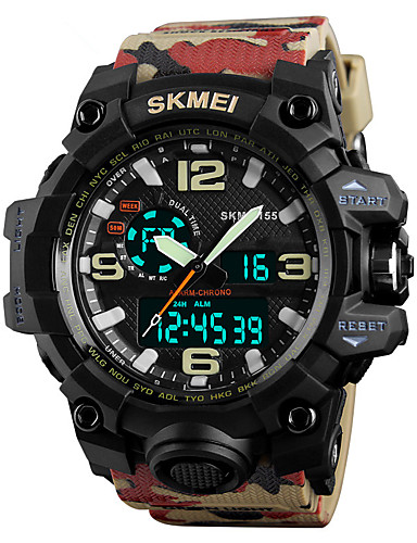 SKMEI Men's Sport Watch / Military Watch / Wrist Watch Japanese Alarm / Calendar / date / day / Chronograph PU Band Fashion / Water Resistant / Water Proof / Dual Time Zones / Stopwatch / Noctilucent