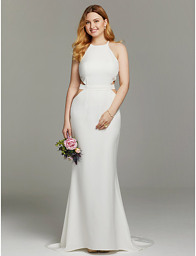 Mermaid / Trumpet Jewel Neck Sweep / Brush Train Knit Custom Wedding Dresses with Sashes / Ribbons by LAN TING BRIDE®